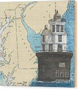 Fourteen Ft Bank Lighthouse De Nautical Chart Map Art Wood Print