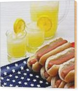 Fourth Of July Hot Dogs And Lemonade Wood Print by Amy Cicconi