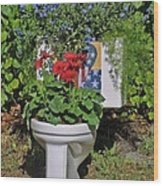 Fourth Of July Loo Wood Print by Dodie Ulery