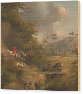 Fox Hunting In Hilly Country Wood Print