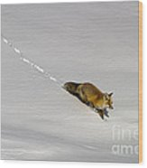 Fox In The Snow-signed Wood Print