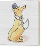 Fox In Top Hat Wood Print
