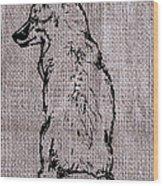 Fox On Burlap  Wood Print