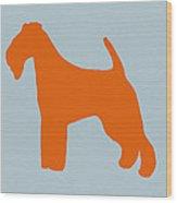 Fox Terrier Orange Wood Print by Naxart Studio