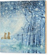 Foxes In The Snow Wood Print