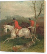 Foxhunting Coming To A Fence Full Cry Signed And Dated Wood Print