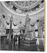 foyer and entrance to the forum shops at caesars palace luxury hotel and casino Las Vegas Nevada USA Wood Print