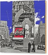 Fr. Duffy Statue Prior To Unveiling Coca Cola Sign Times Square New York City 1937-2014 Wood Print