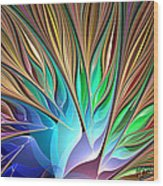 Fractal Bird Of Paradise Wood Print