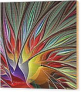 Fractal Bird Of Paradise Redux Wood Print