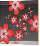 Fractal Cheerful Red Flowers Wood Print