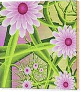 Fractal Fantasy Neon Flower Garden Wood Print