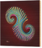 Fractal Feather Spiral Wood Print