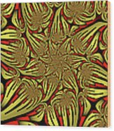 Fractal Golden And Red Wood Print