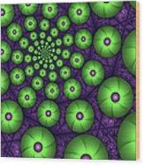 Fractal Green Shapes Wood Print