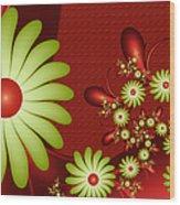 Fractal Happy Flowers 2 Wood Print