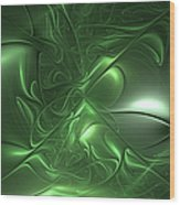 Fractal Living Green Metal Wood Print