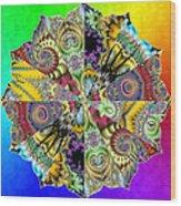 Fractal Lotus Zodiac Wood Print