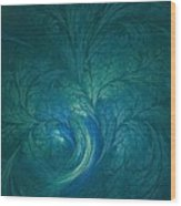 Fractal Marine Blue Wood Print