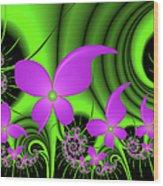 Fractal Neon Fantasy Wood Print