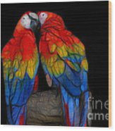 Fractal Parrots Wood Print