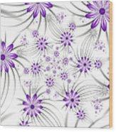 Fractal Purple Flowers Wood Print