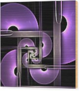 Fractal Purple Semicircles Wood Print