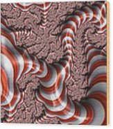 Fractal Red And White Wood Print