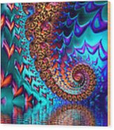 Fractal Sea Of Love With Hearts Wood Print