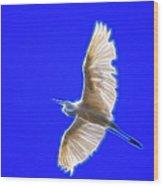 Fractal White Egret Wood Print