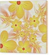 Fractal Yellow Flowers Wood Print