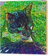 Fractalias Feline Wood Print