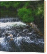 Fractalius - River Wye Waterfall - In Peak District - England Wood Print