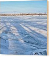 Fractured Ice On The River Wood Print