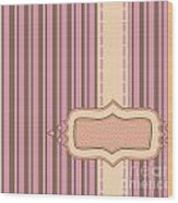 Frame With Ribbon Pinstripe Vector Wood Print