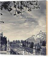 Framed View Of Salzburg From Kapuzinerberg Wood Print