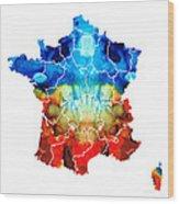 France - European Map By Sharon Cummings Wood Print