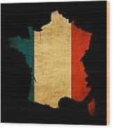 France Grunge Map Outline With Flag Wood Print