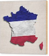 France Map Art With Flag Design Wood Print