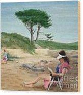Frances At The Beach Wood Print