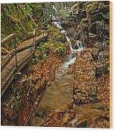 Franconia Notch Lush Greens And Rushing Waters Wood Print