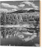 Franconia Ridge Reflection B And W Wood Print