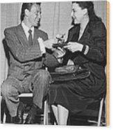 Frank Sinatra Signs For Fan Wood Print