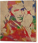 Frank Sinatra Watercolor Portrait On Worn Distressed Canvas Wood Print