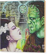 Frankenstein And The Bride Wood Print