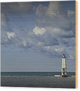 Frankfort Lighthouse On Lake Michigan Wood Print