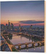 Frankfurt Skyline At Sunset Wood Print