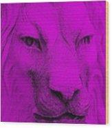 Frankie Lion Purple Wood Print