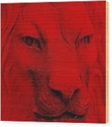 Frankie Lion Red Wood Print