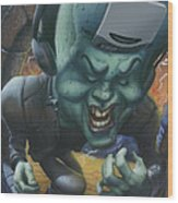 Frankinstein Playing The Air Guitar - Parody - Illustration - Monster Monsters - Humorous Wood Print